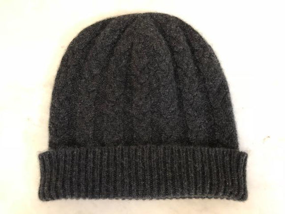 3-ply Beanies | Charcoal Cable Knit