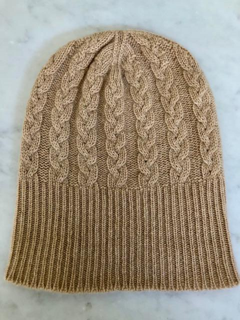 3-ply Beanies | Camel Cable Knit