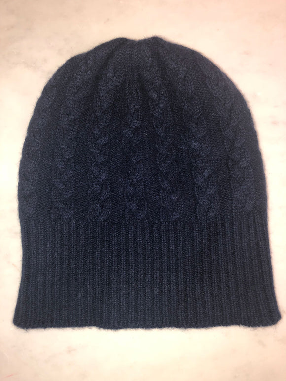 3-ply Beanies | Navy Cable Knit