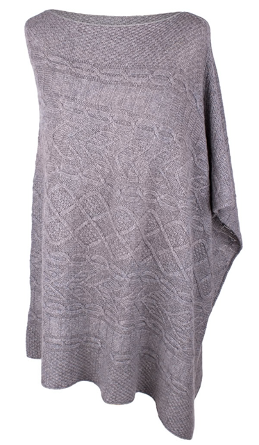 SCA 4-ply Cable Knit Poncho - Felt Grey