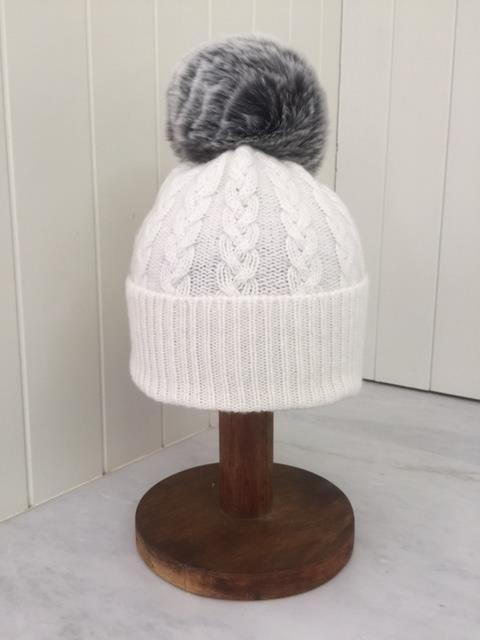 3-ply Beanies | White Cable Knit with Pom Pom