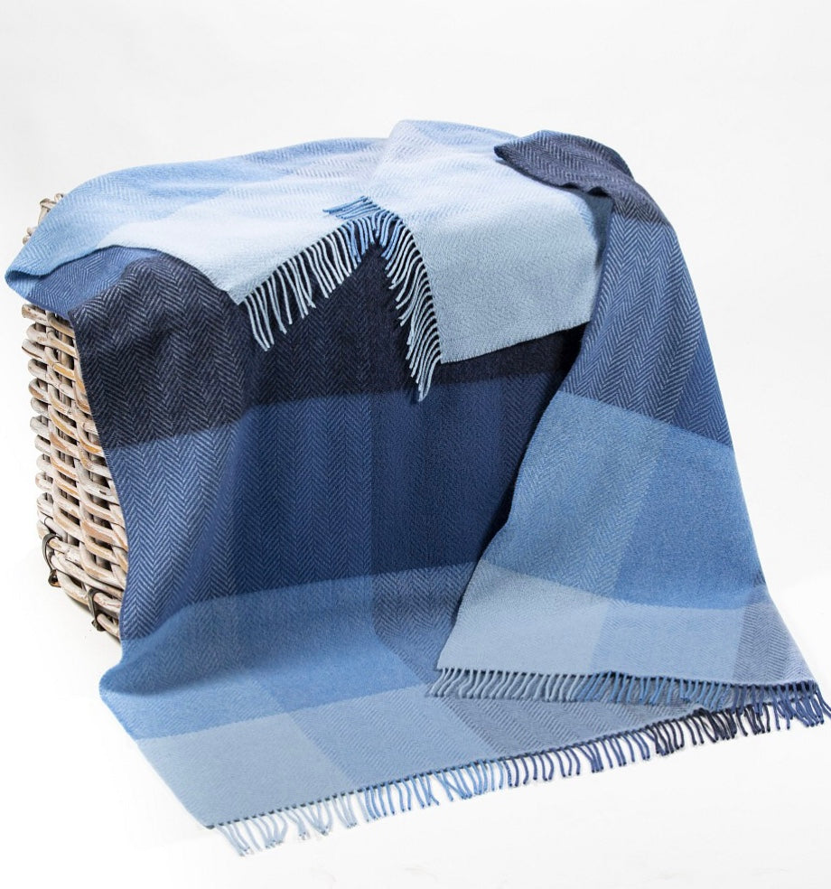 Merino Cashmere Throw - Mix Blue Large Check