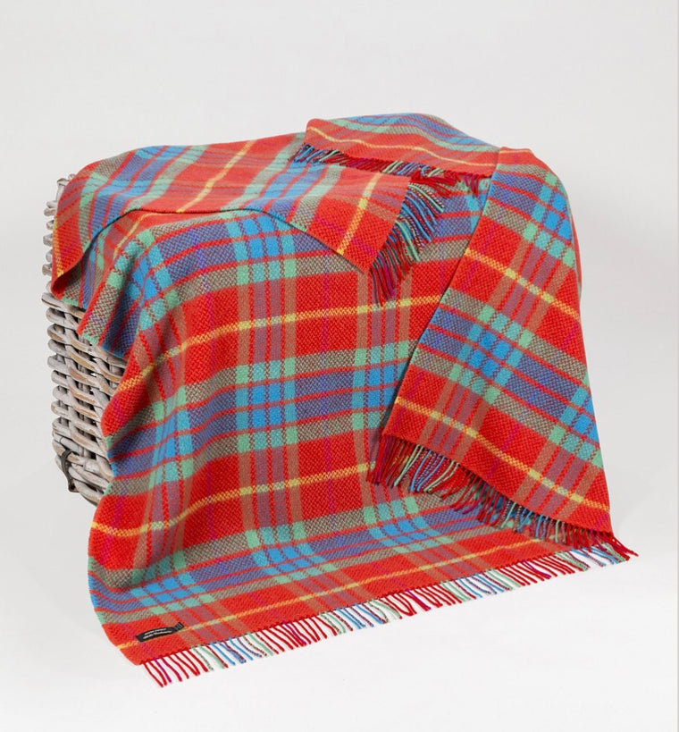 Merino Cashmere Throw - Bright Red, Green + Turquoise Check