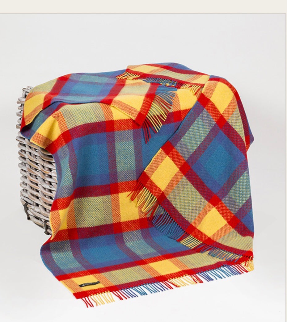Merino Cashmere Throw - Bright Blue, Red + Yellow Large Check