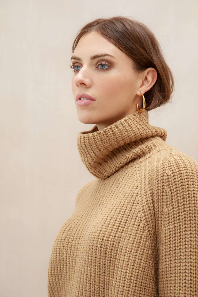 Cashmere Camel Funnel Neck Jumper