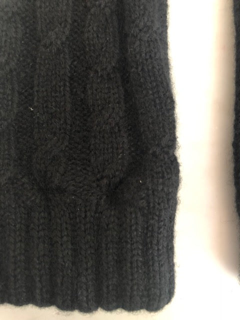 4-ply cable knit cashmere wristwarmers - Black
