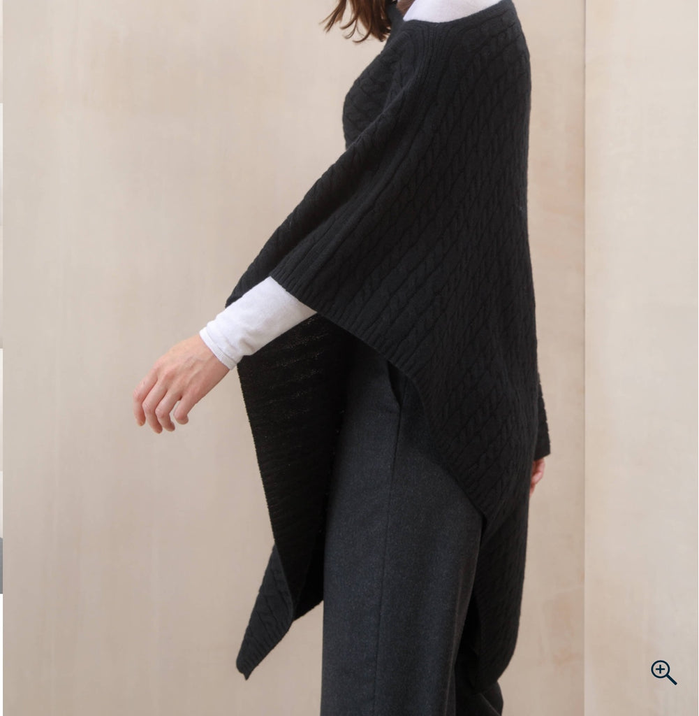 SCA 3-Ply Cable Knit Poncho - Black