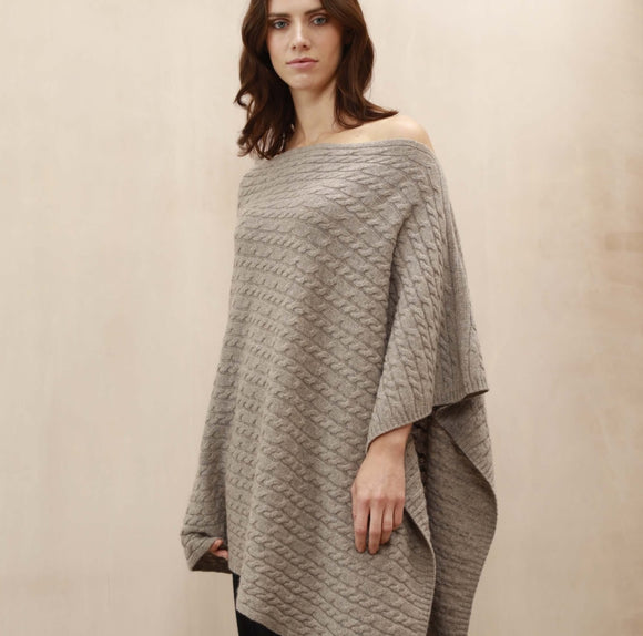 SCA 3-Ply Cable Knit Poncho - Taupe