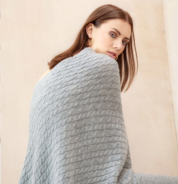 SCA 3-Ply Cable Knit Poncho - Felt Grey