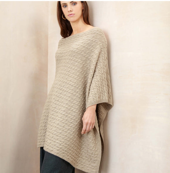 SCA 3-Ply Cable Knit Poncho - Swansdown