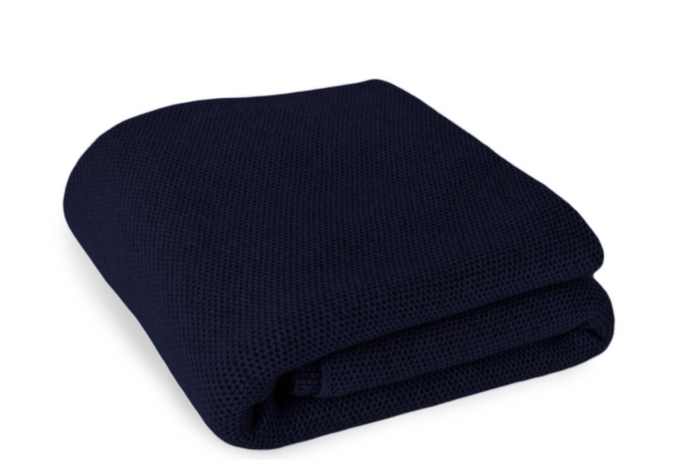 Waffle Stitch 4-Ply Cashmere Blanket Throw - Navy