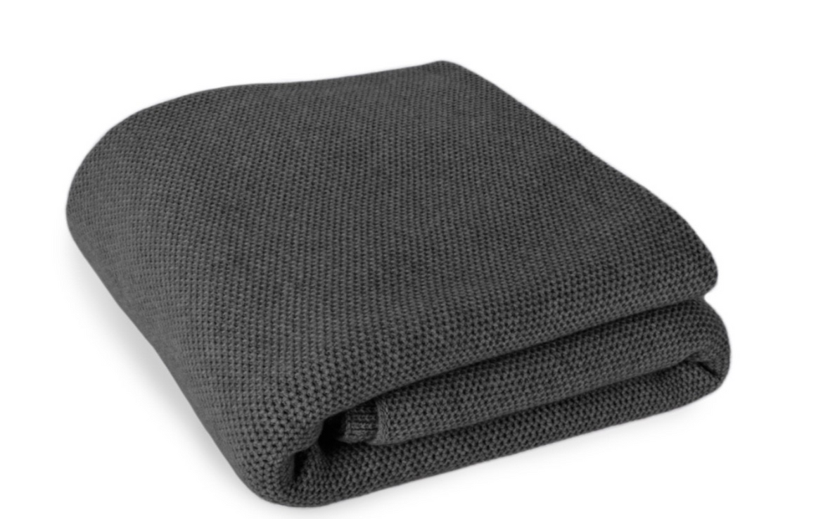 Waffle Stitch 4-Ply Cashmere Blanket Throw - Charcoal