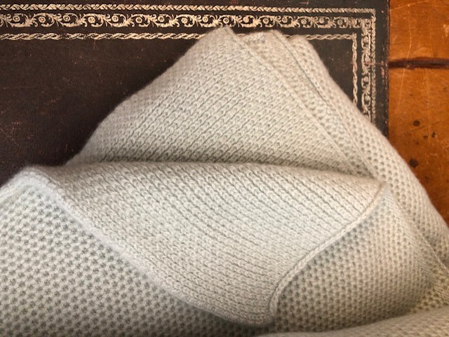 Waffle Stitch 4-Ply Cashmere Blanket Throw - Duck Egg