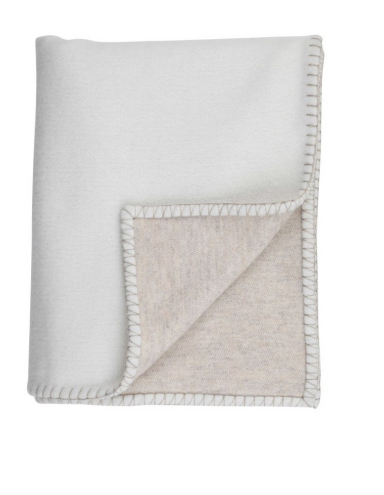 Reversible cashmere and merino blanket stitched bed throw - Ecru / Driftwood