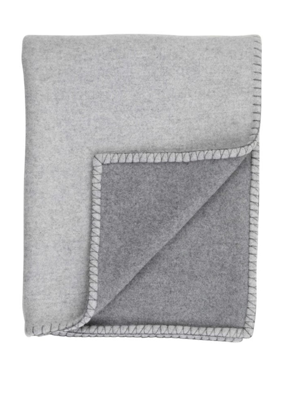 Reversible cashmere and merino blanket stitched throw - Silver / Grey