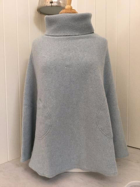 SCA 6-Ply Polo Neck Poncho - Duck Egg Blue
