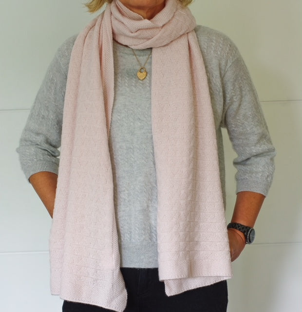 SCA 3-Ply Cashmere Chevron Scarf - Palest Pink
