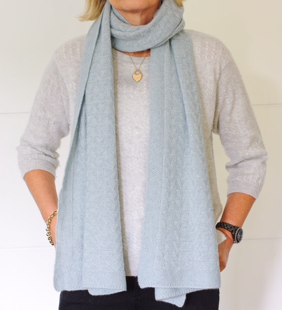 SCA 3-Ply Cashmere Chevron Scarf - Duck Egg Blue