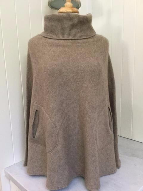 SCA 6-Ply Polo Neck Poncho - Dark Natural
