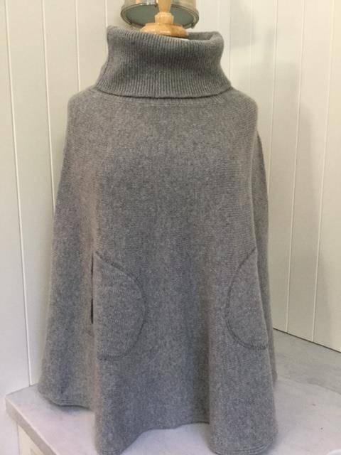 SCA 6-Ply Polo Neck Poncho - Felt Grey