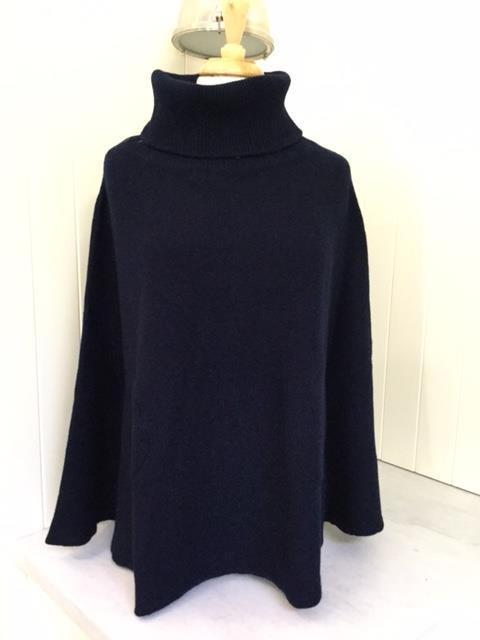 SCA 6-Ply Polo Neck Poncho - Navy