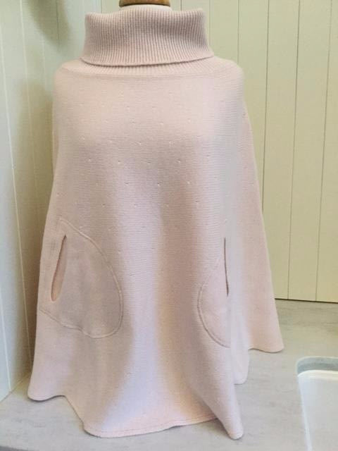SCA 6-Ply Polo Neck Poncho - Pale Pink