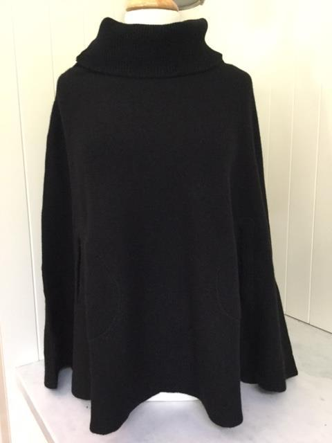 SCA 6-Ply Polo Neck Poncho - Black