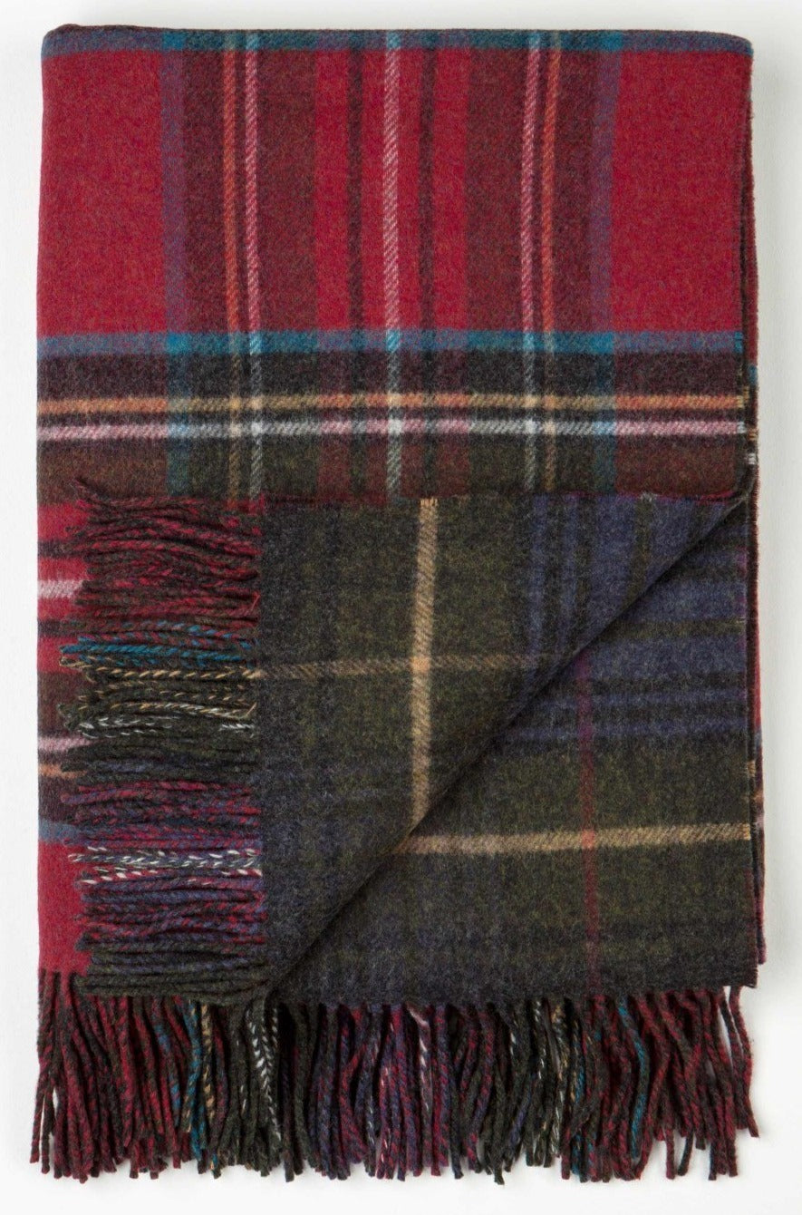 Lambswool Hunting Stewart Double Face Check Throw