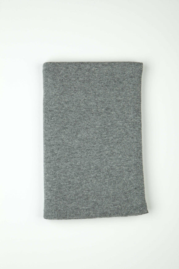 Cashmere Light Grey Gauzy Knit Throw