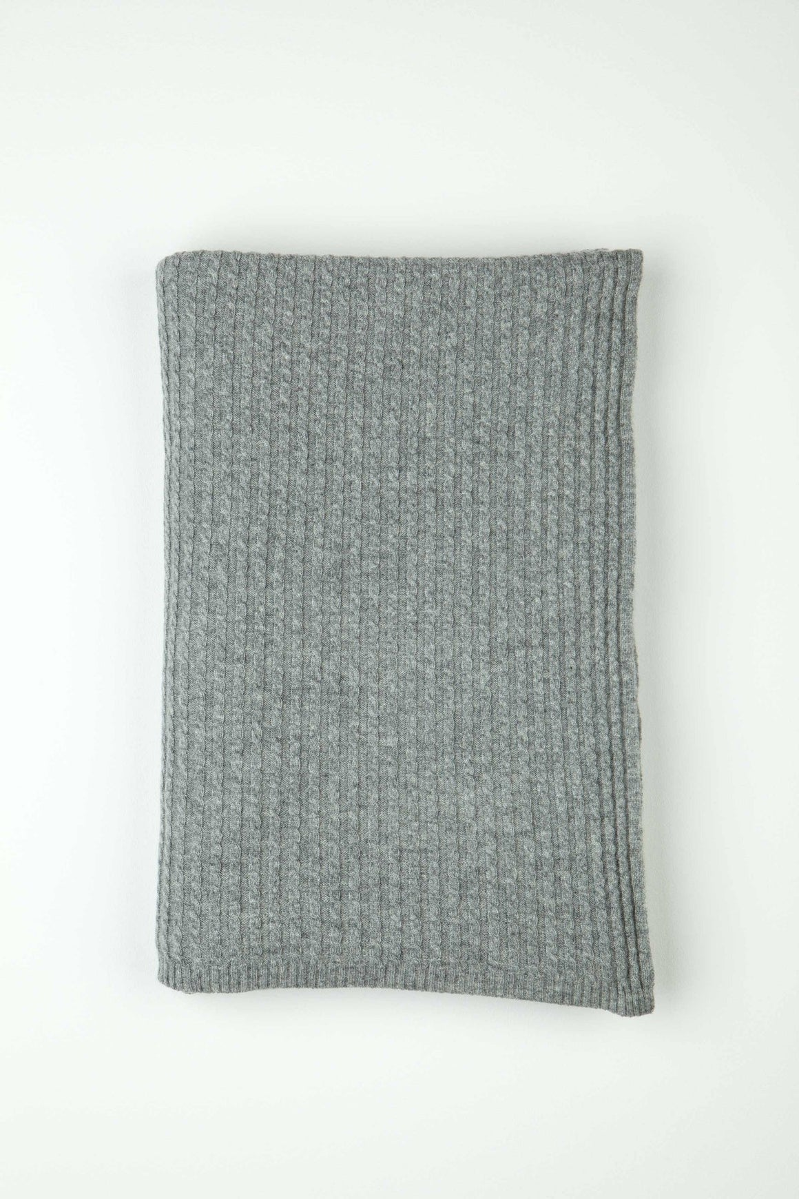 Cashmere Light Grey Neat Cable Knit Throw