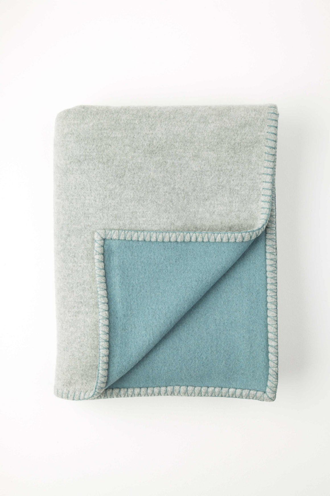 Reversible Light Grey Blanket Stitched Throw