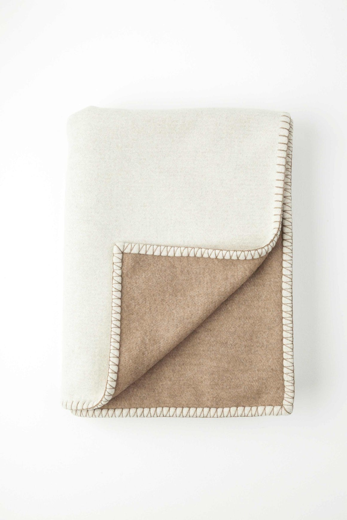 Reversible Light Cream Blanket Stitched Throw