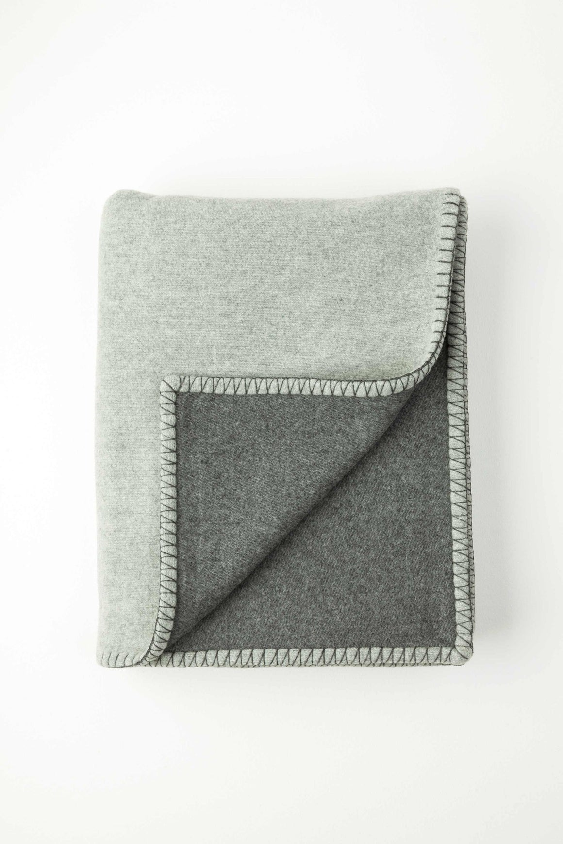Reversible Dark Grey Blanket Stitched Throw