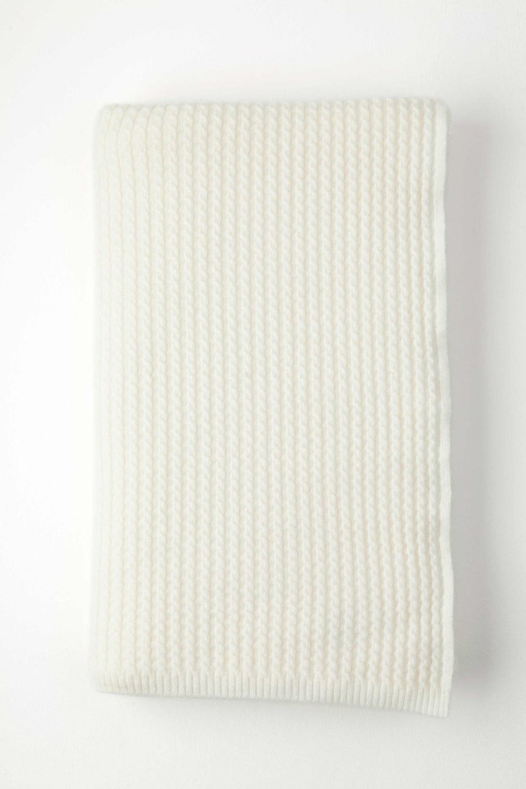 Cashmere White Neat Cable Knit Throw