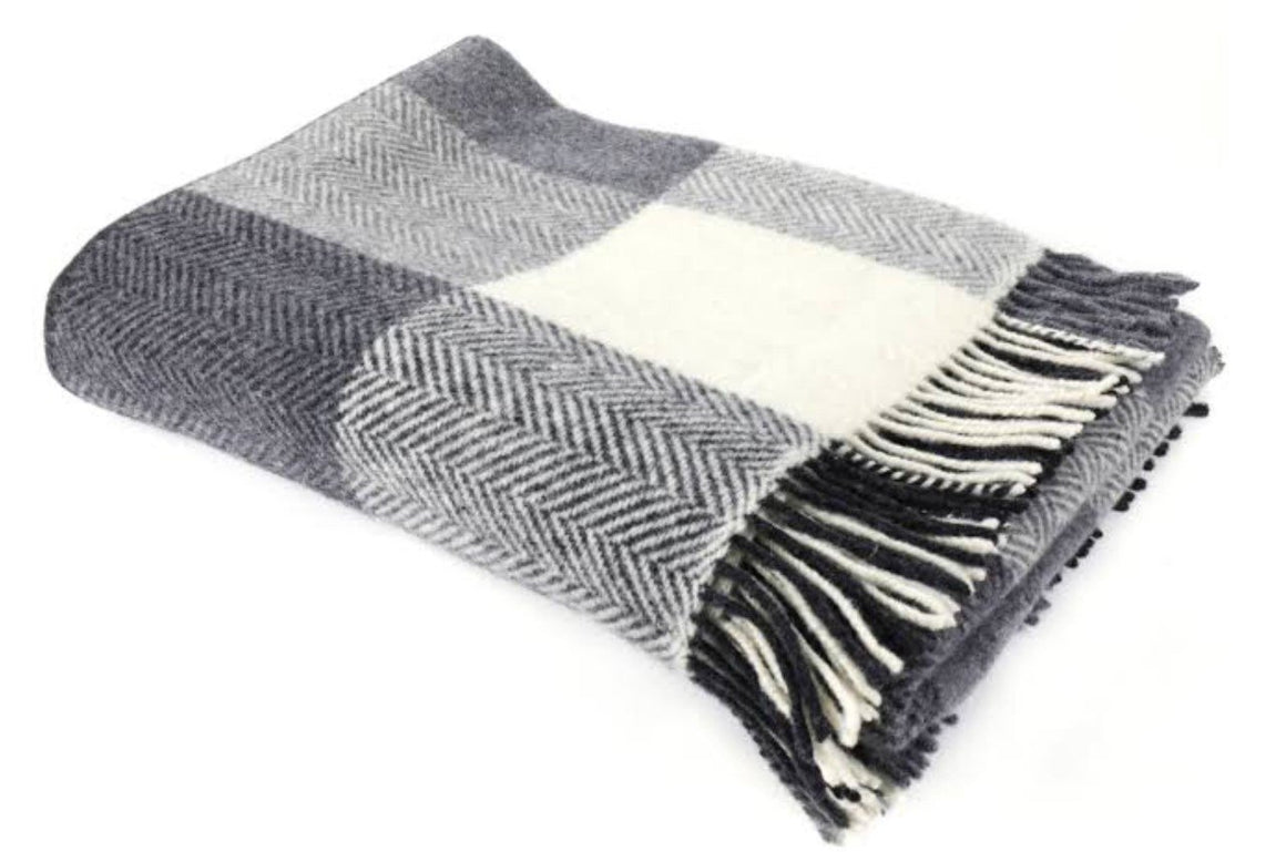 Merino Cashmere Throw - Grey + White Herringbone Large Check