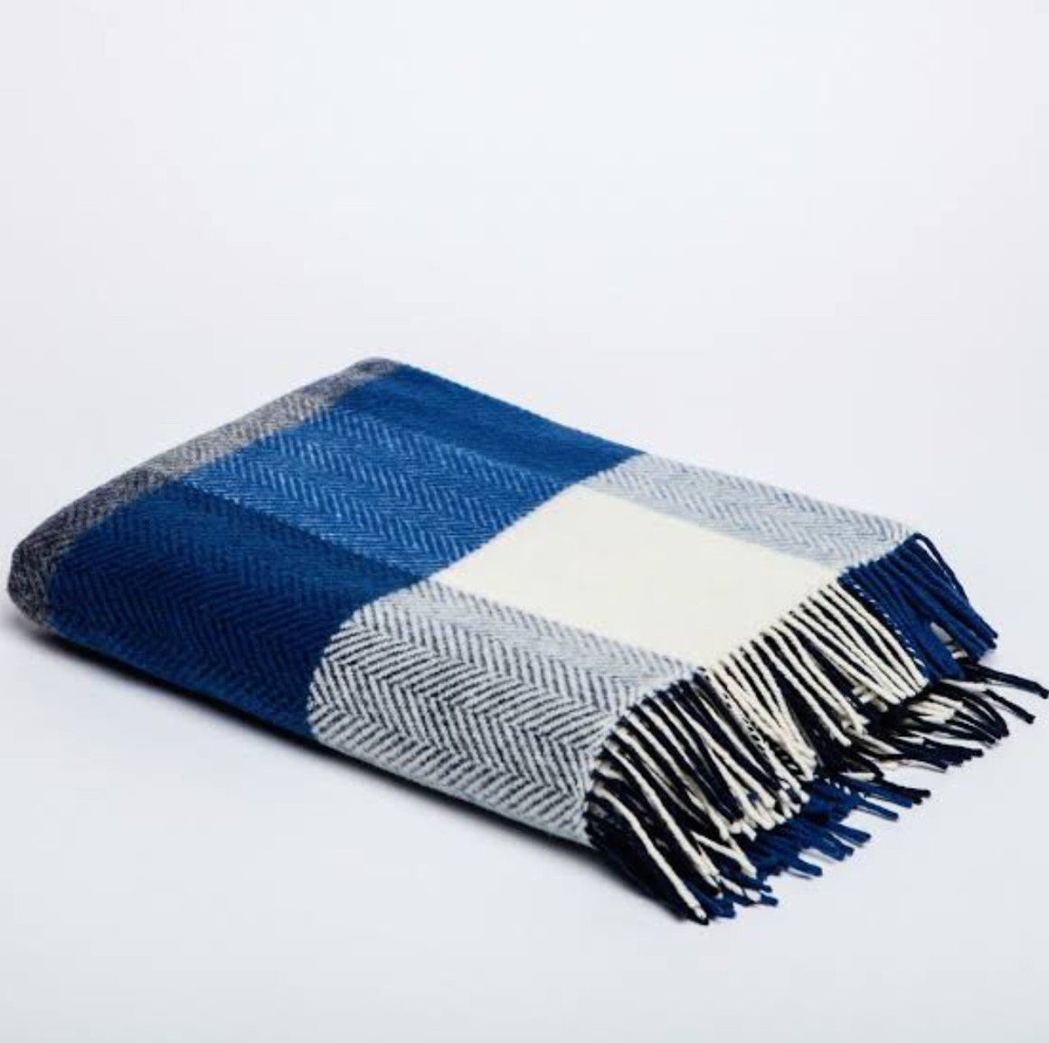Merino Cashmere Throw - Blue, Demin + White Large Check