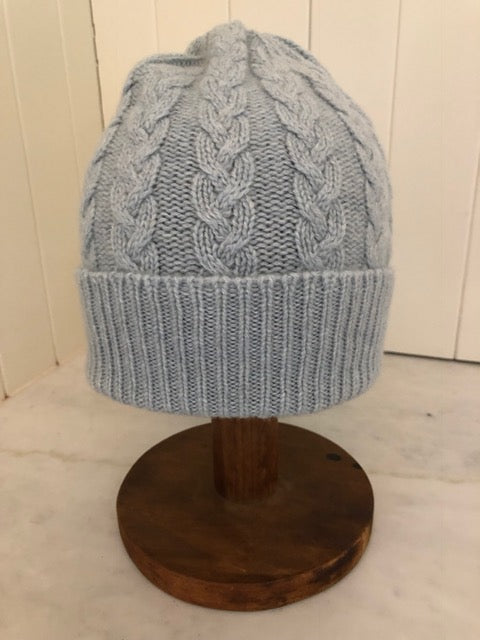 3-ply Beanies | Duck Egg Blue Cable Knit