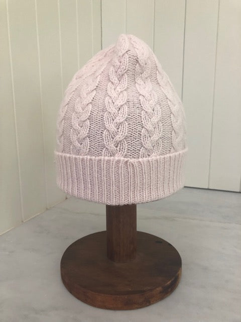 3-ply Beanies | Palest Pink Cable Knit