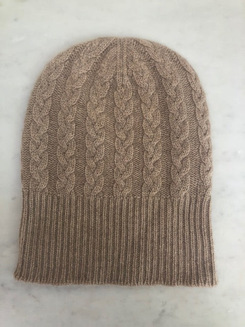 3-ply Beanies | Dark Natural Cable Knit
