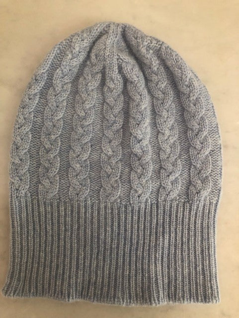 3-ply Beanies | Powder Blue Cable Knit