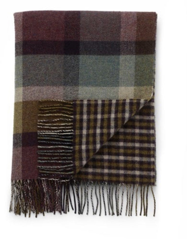 Lambswool Double Face Check Throw | Hessian