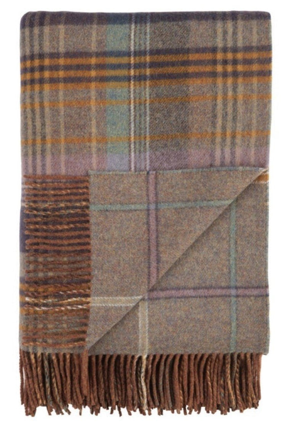 Lambswool Double Face Check Throw | Lovat
