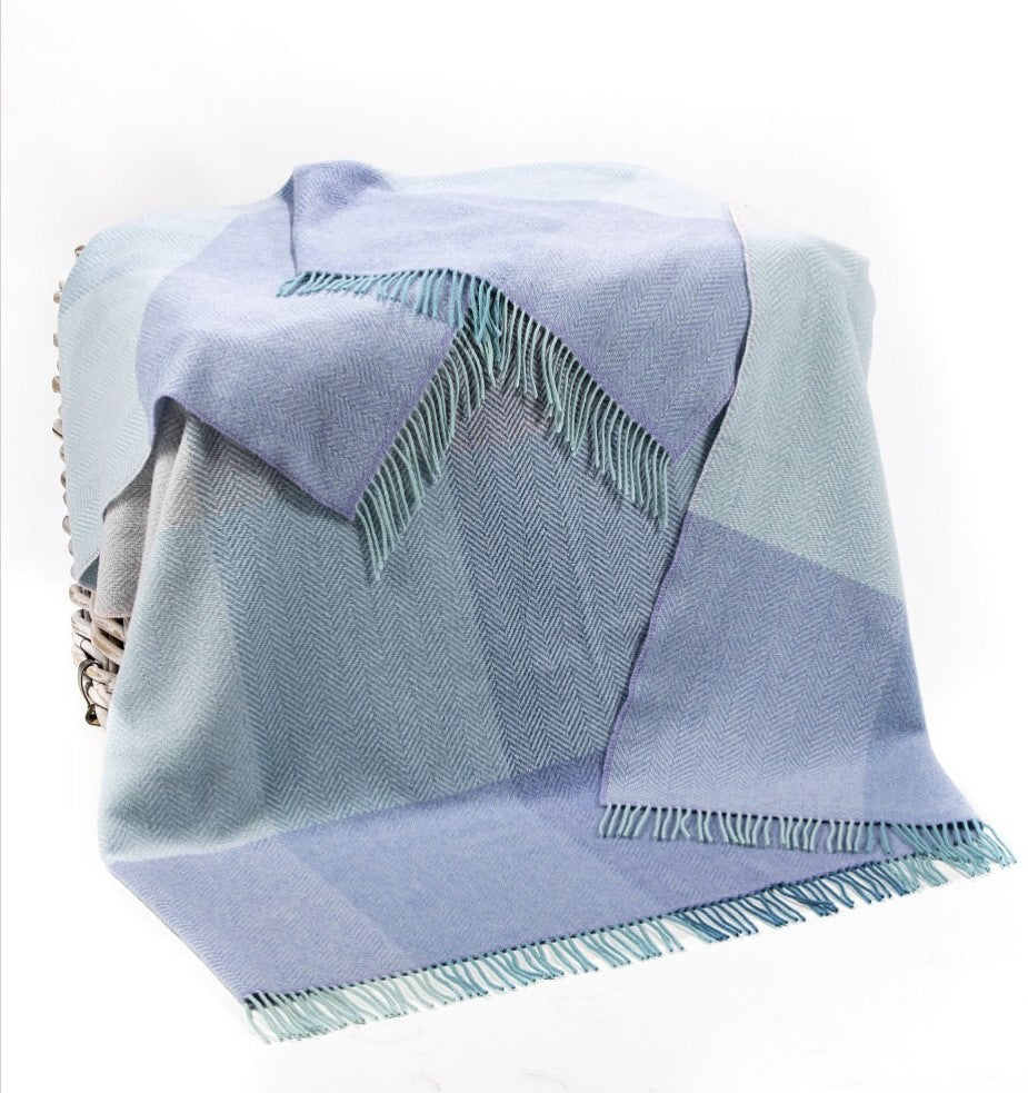 Merino Cashmere Throw - Duck Egg, Teal + Lilac Herringbone Large Check