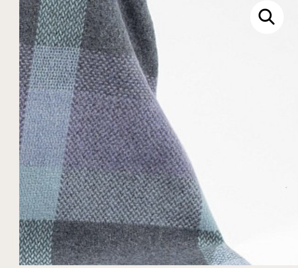 Merino Cashmere Throw - Duck Egg, Teal, Purple + Grey Check