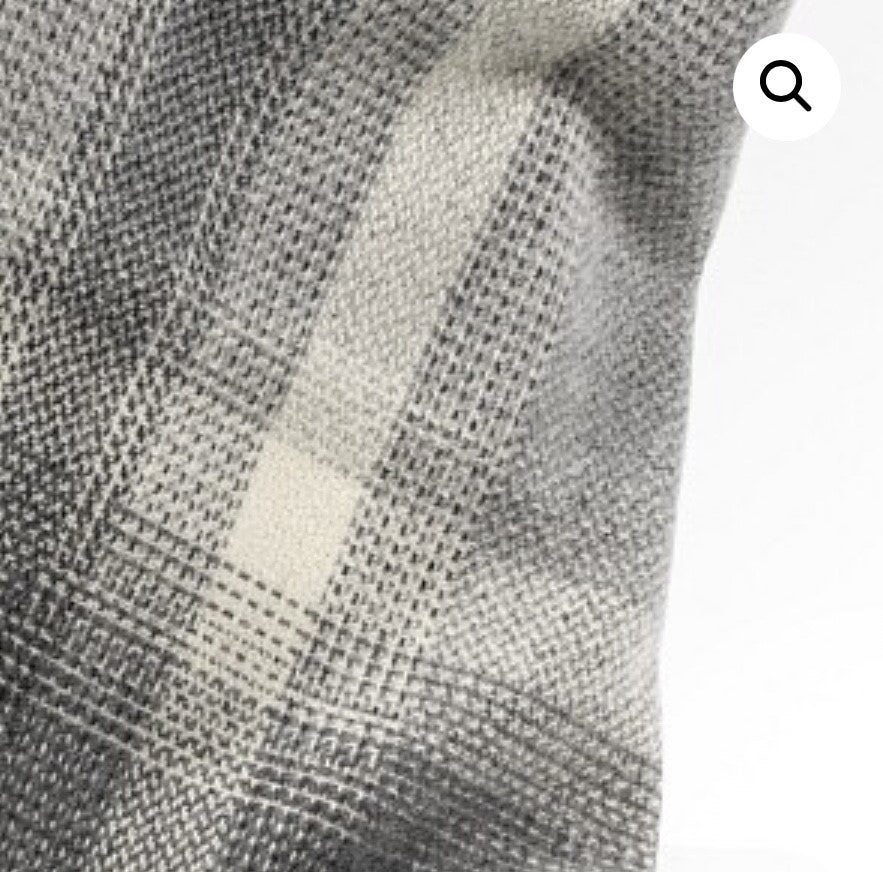 Merino Cashmere Throw - Grey + Silver Border Check