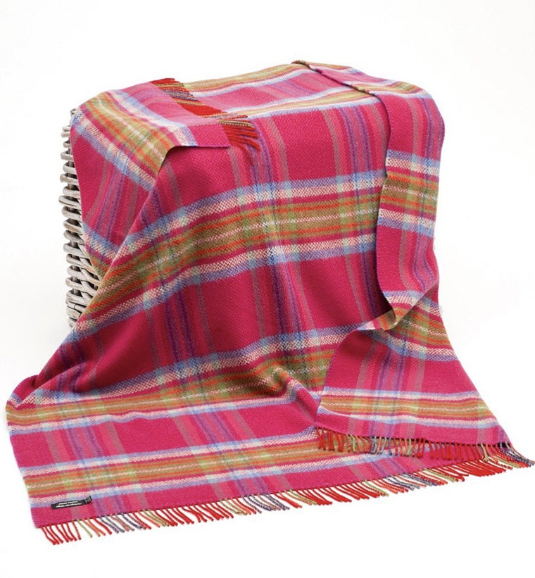 Merino Cashmere Throw - Pink, Lilac + Green Check