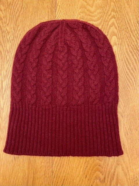 3-ply Beanies | Claret Cable Knit