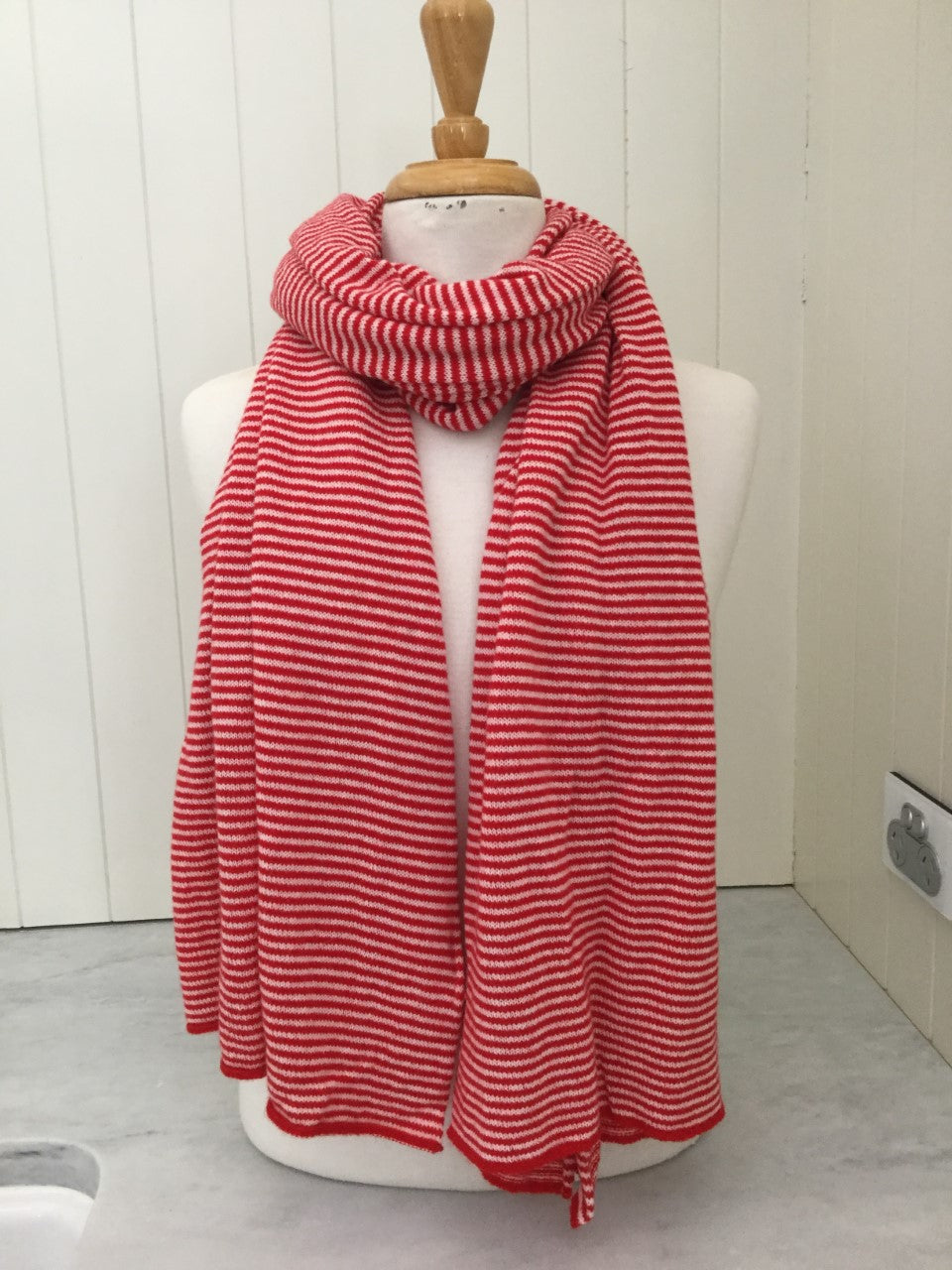 SCA Cashmere Stole - Red & White Stripe
