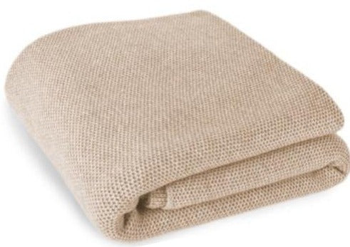 Waffle Stitch Cashmere Blanket Throw - Light Natural