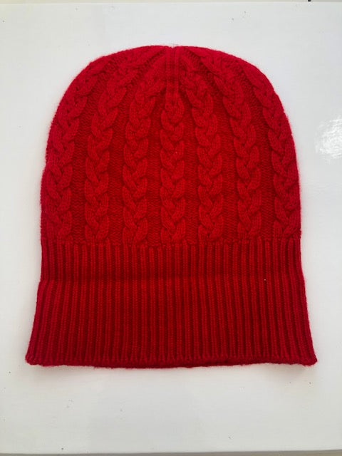 3-ply Beanies | Cardinal Red Cable Knit